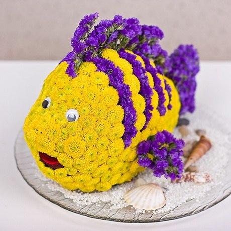 Как сделать рыбу из цветов