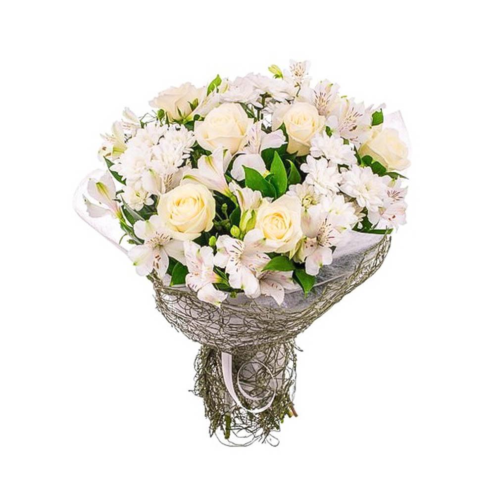 Букеты, белыми цветочки в букет с розами