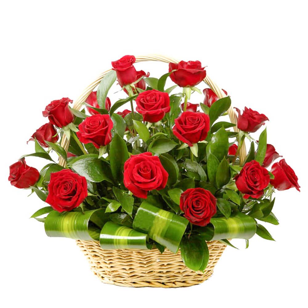 Смешная, открытка с букетом цветов в корзине