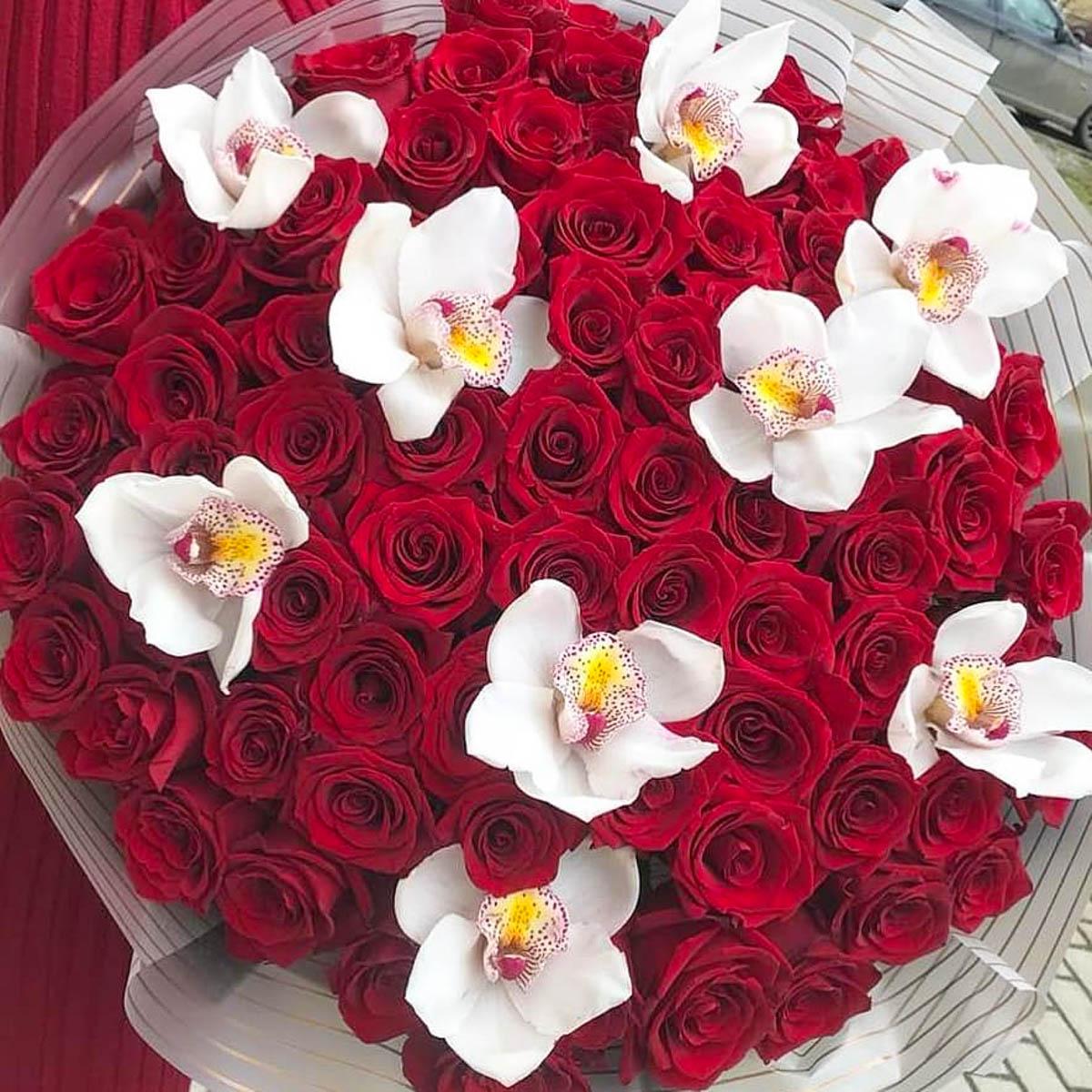 клиенты стали орхидеи и красные розы букет фото находят таким